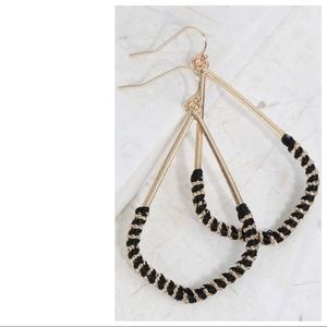 Jewelry - Black Thread Wrapped Marquee Earrings
